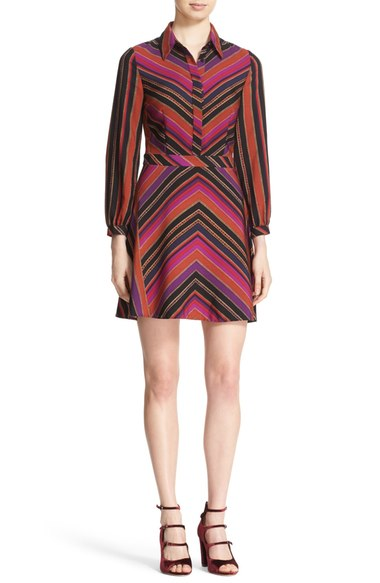 d7a554cb9f11 DIANE VON FURSTENBERG CHRISSIE CHEVRON-STRIPE SHIRTDRESS