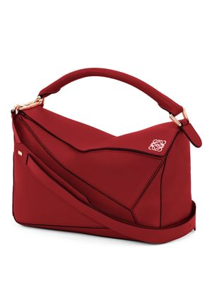Puzzle Small Textured-Leather Shoulder Bag, Rouge