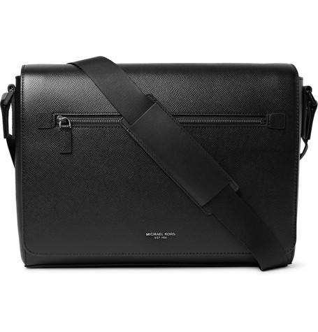 Michael Kors Bags Harrison Cross Grain Leather Large Messenger Black - Messenger Bags