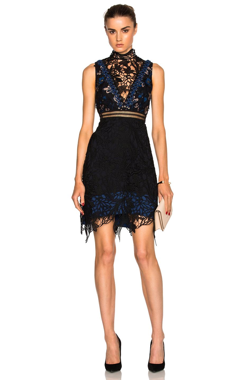 Clementine Dress in Black,Floral,Blue Self Portrait