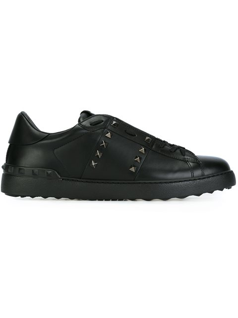 VALENTINO Rockstud Untitled Men'S Leather Low-Top Sneaker, Black