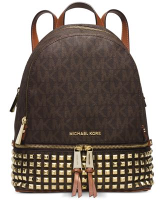 d5b9568fe937 ... clearance michael kors michael rhea zip small studded backpack brown  c1443 3823b