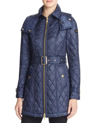 Baughton Lightweight Diamond Quilted Coat W/ Detachable Hood in Blue