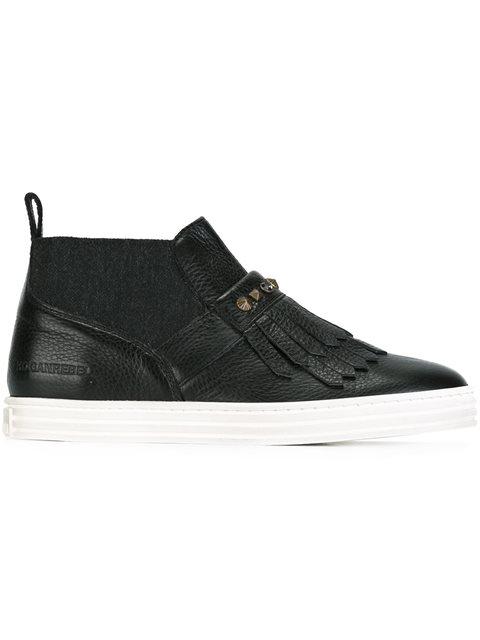 Sneakers Slip-On Hogan Rebel R182 In Pelle Nera Con Frangia, Black