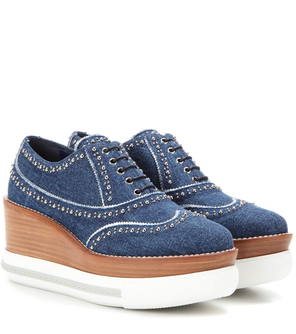MIU MIU Studded Denim Platform Sneakers in Blue-Silver