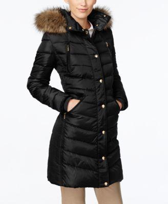 8894cc3e986 Michael Kors Michael Plus Size Faux-Fur-Trim Down Puffer Coat In Black