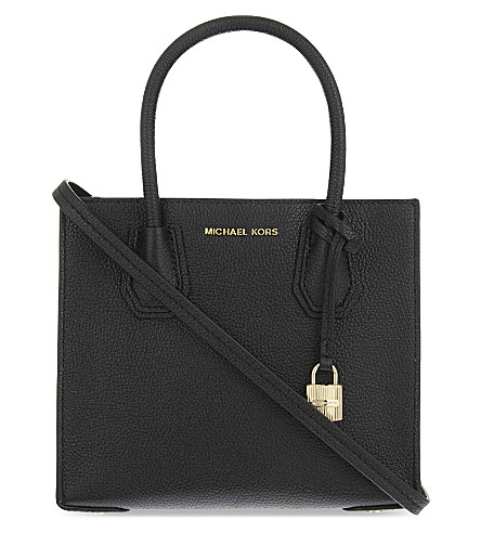 Mercer Large Convertible Bonded-Leather Tote, Black/ Gold