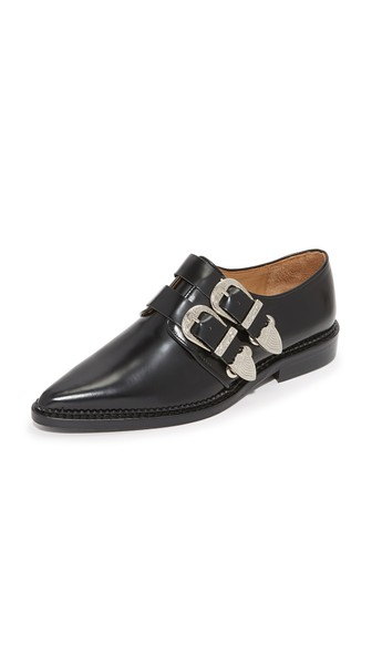 Buckled Leather Oxfords In Black.
