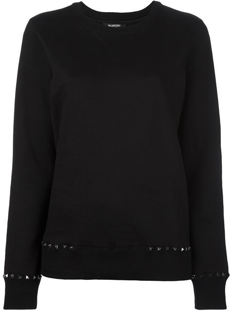 Rockstud-Trim Cotton Sweatshirt, Black