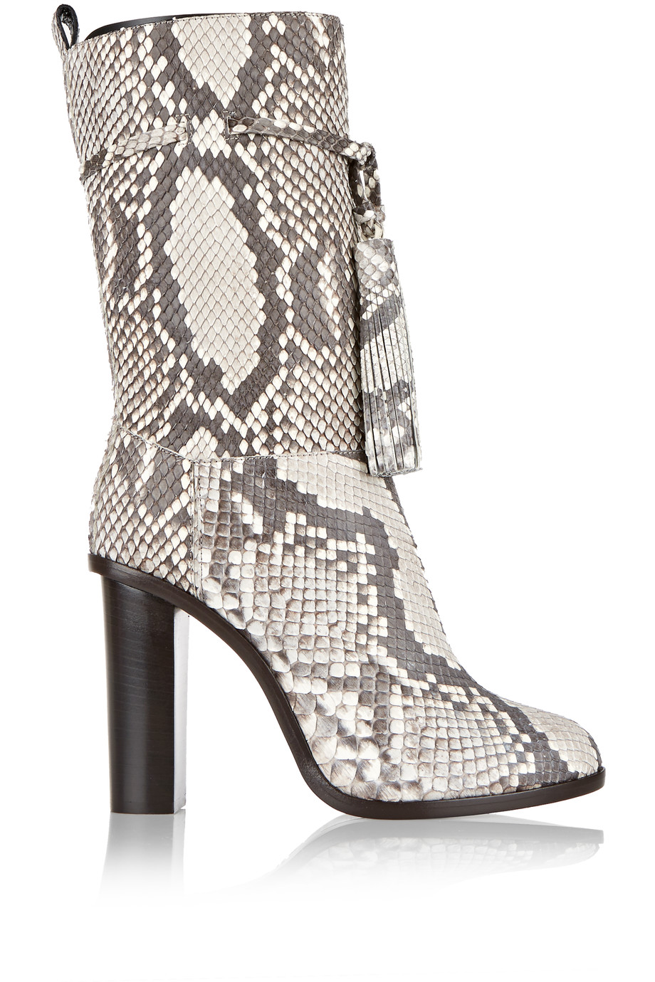 LANVIN Tasseled Python Boots in Animal Print