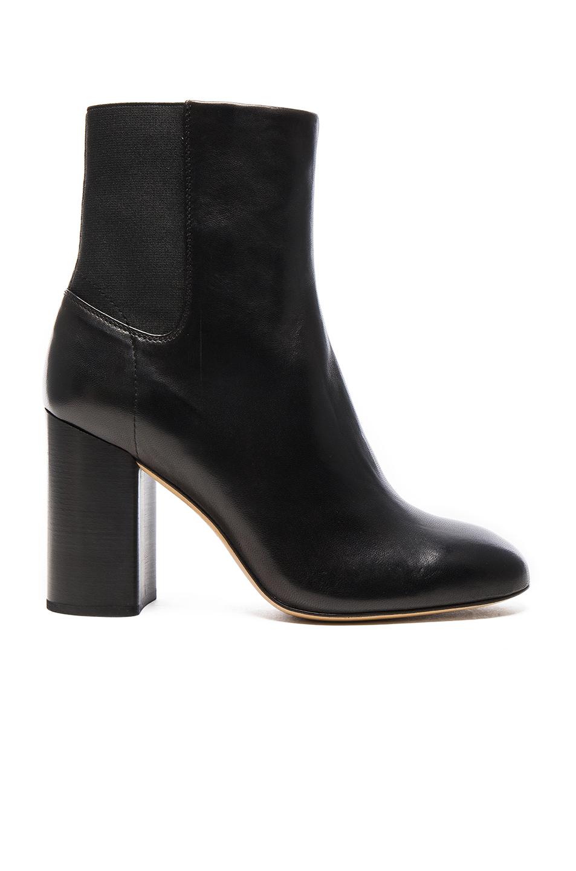 Agnes Leather Block Heel Booties, Black Leather