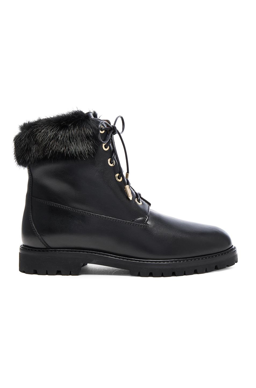 Heilbrunner Fur-Trimmed Leather Ankle Boots in Black