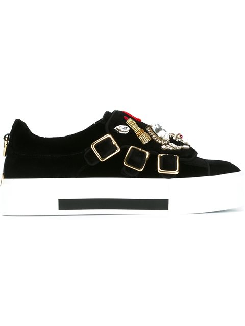 Crystal-Embellished Velvet Monk-Strap Shoes, Black