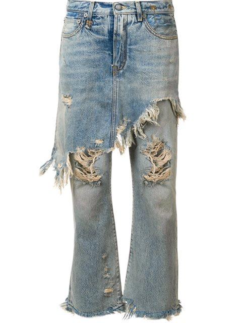 Blue Double Classic Shredded Hem Jeans, Leyton