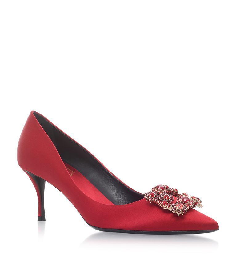 Flower Strass Crystal-Embellished Satin Pumps, Red