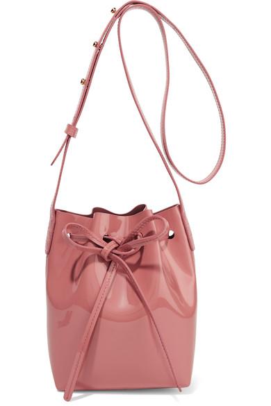 Mini Mini Patent-Leather Bucket Bag, Llush