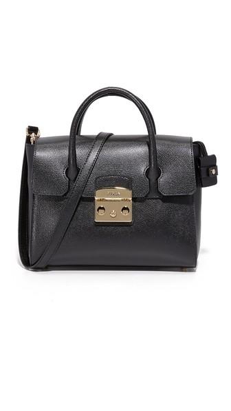 Small Metropolis Leather Tote Bag, Onyx