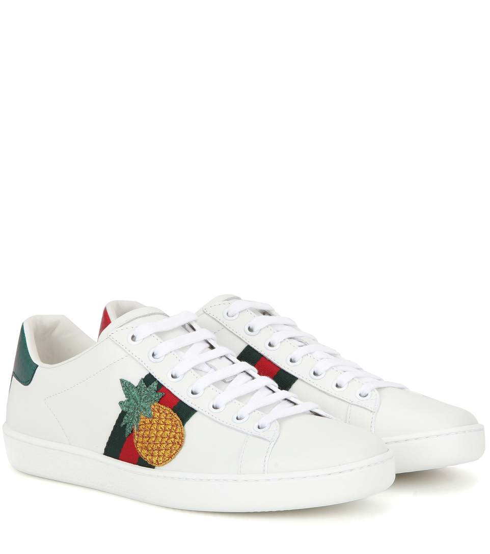 New Ace Pineapple-Embellished Leather Trainers, White