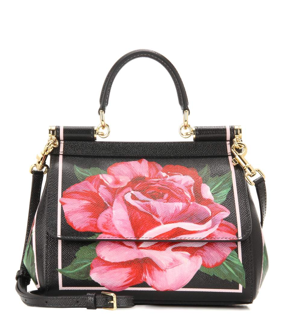 Dolce   Gabbana Small Sicily Bag In Printed Dauphine Leather In Rosa Fdo  Nero 91442bd20c
