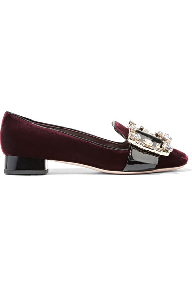 MIU MIU Crystal-Embellished Patent Leather-Trimmed Velvet Pumps in Lordeaux