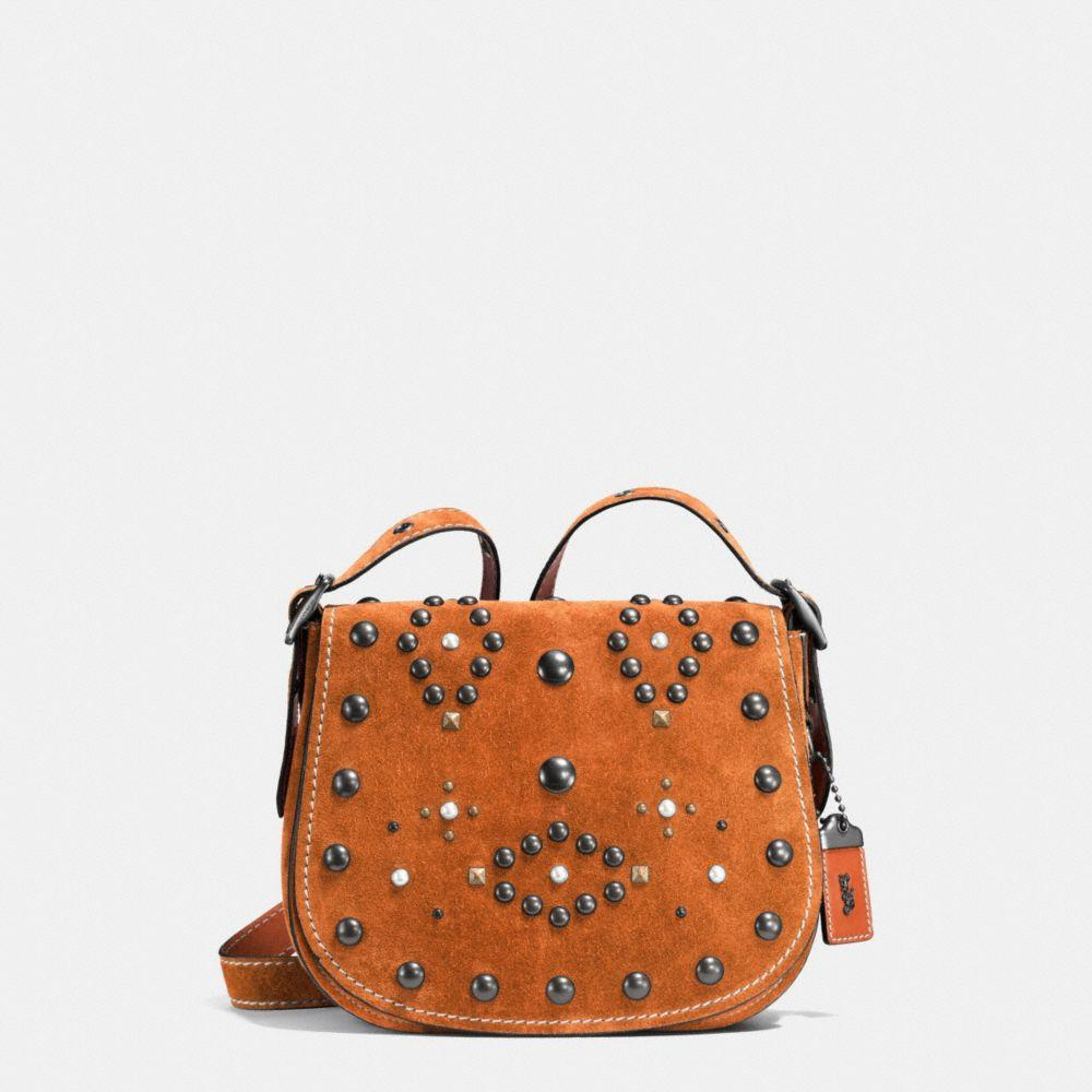 Saddle Small Embellished Suede Crossbody Bag, : Black Copper/Ginger