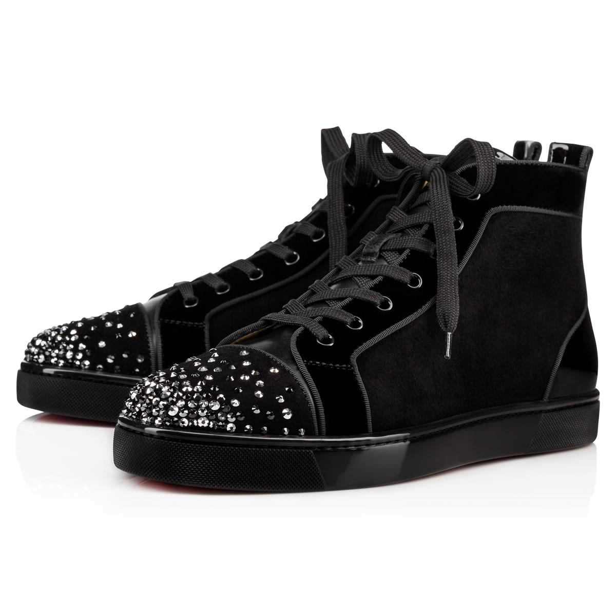 Lou crystal-embelished suede high-top trainers Christian Louboutin 03X9I9Jp