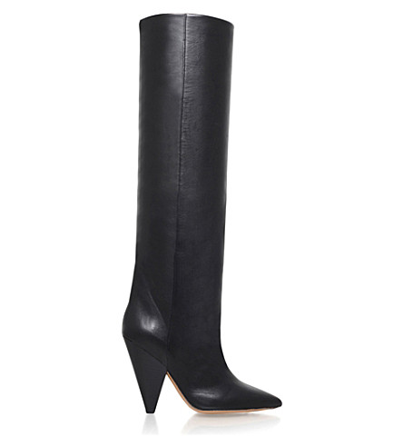 High Quality Cheap Online Cheap How Much Isabel Marant Leather Knee-High Boots Cheap Countdown Package Shopping Online Clearance Free Shipping Many Kinds Of DgAGd