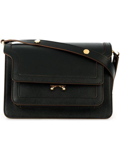 Trunk Medium Leather Shoulder Bag, Black