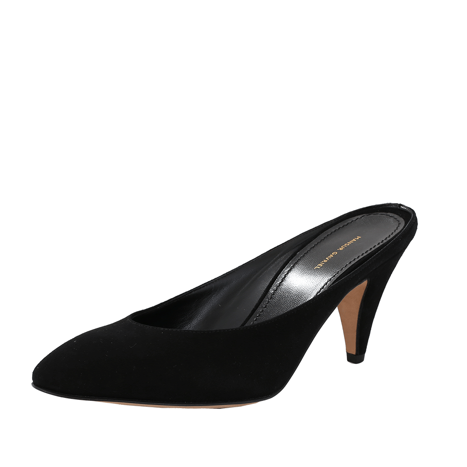 Backless Suede Pumps in Black