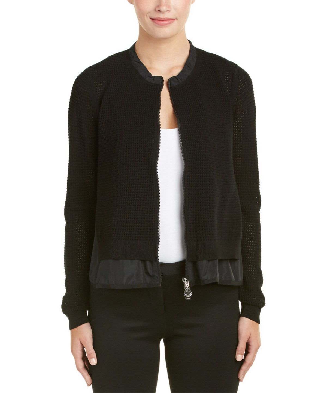 Layered Mesh Zip-Front Jacket, Black