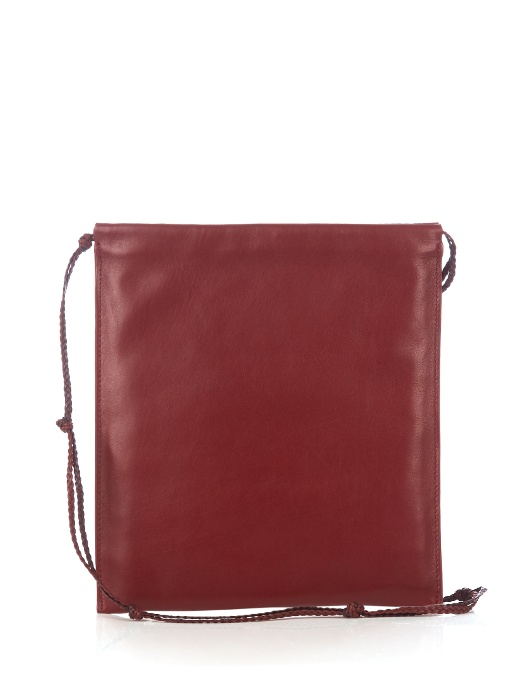 'Medicine' Large Lambskin Leather Crossbody Pouch, Burgundy