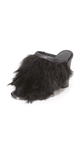 Tibi Bee Feathered Mules In Black