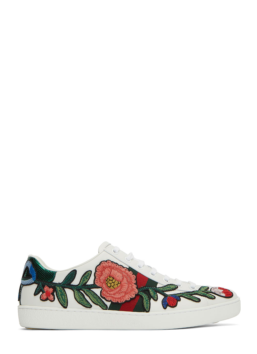 GUCCI New Ace Floral-Embroidered Low-Top Sneaker, White/Multi, Multi Colors in White-Multi