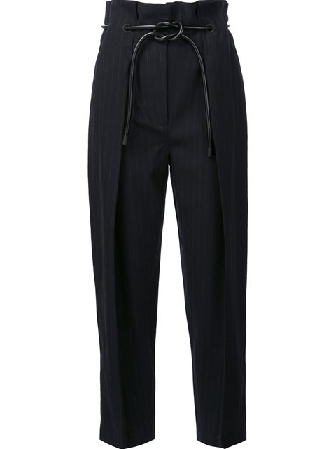 Wrapped Waist Pleated Trousers in Blue