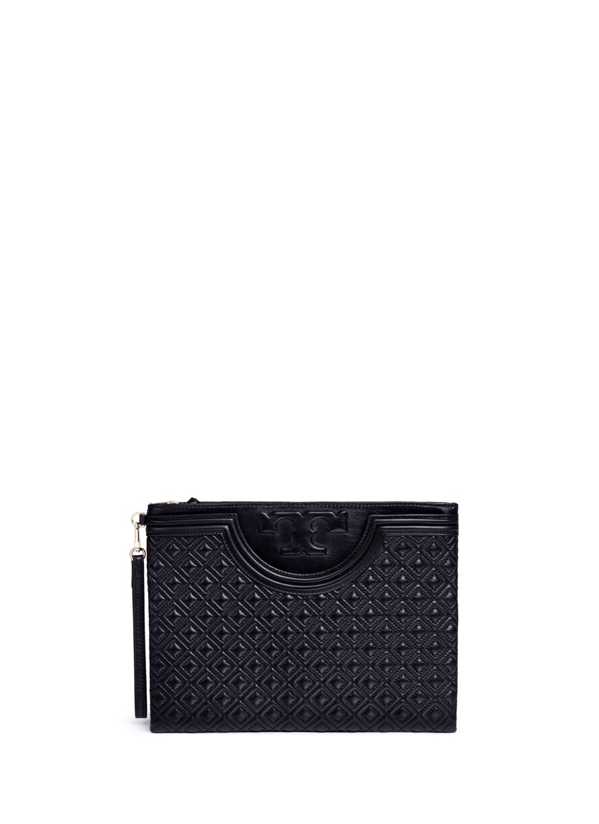 TORY BURCH \'Fleming\' Large Quilted Leather Pouch in Black | ModeSens