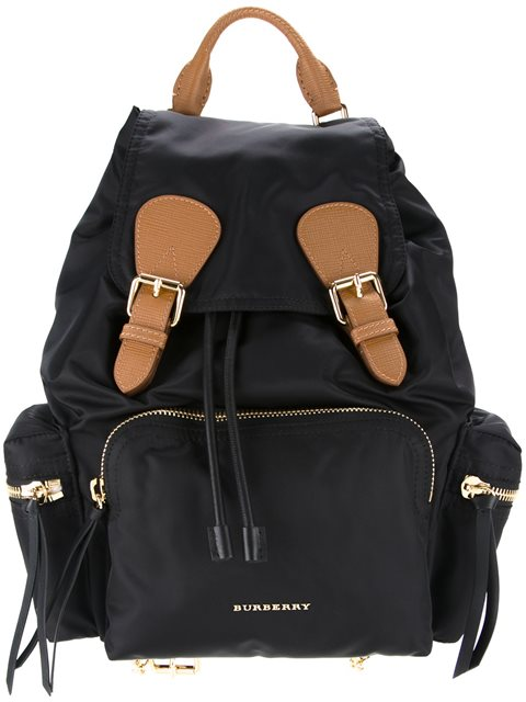 The Medium Rucksack In Technical Nylon And Leather, Black