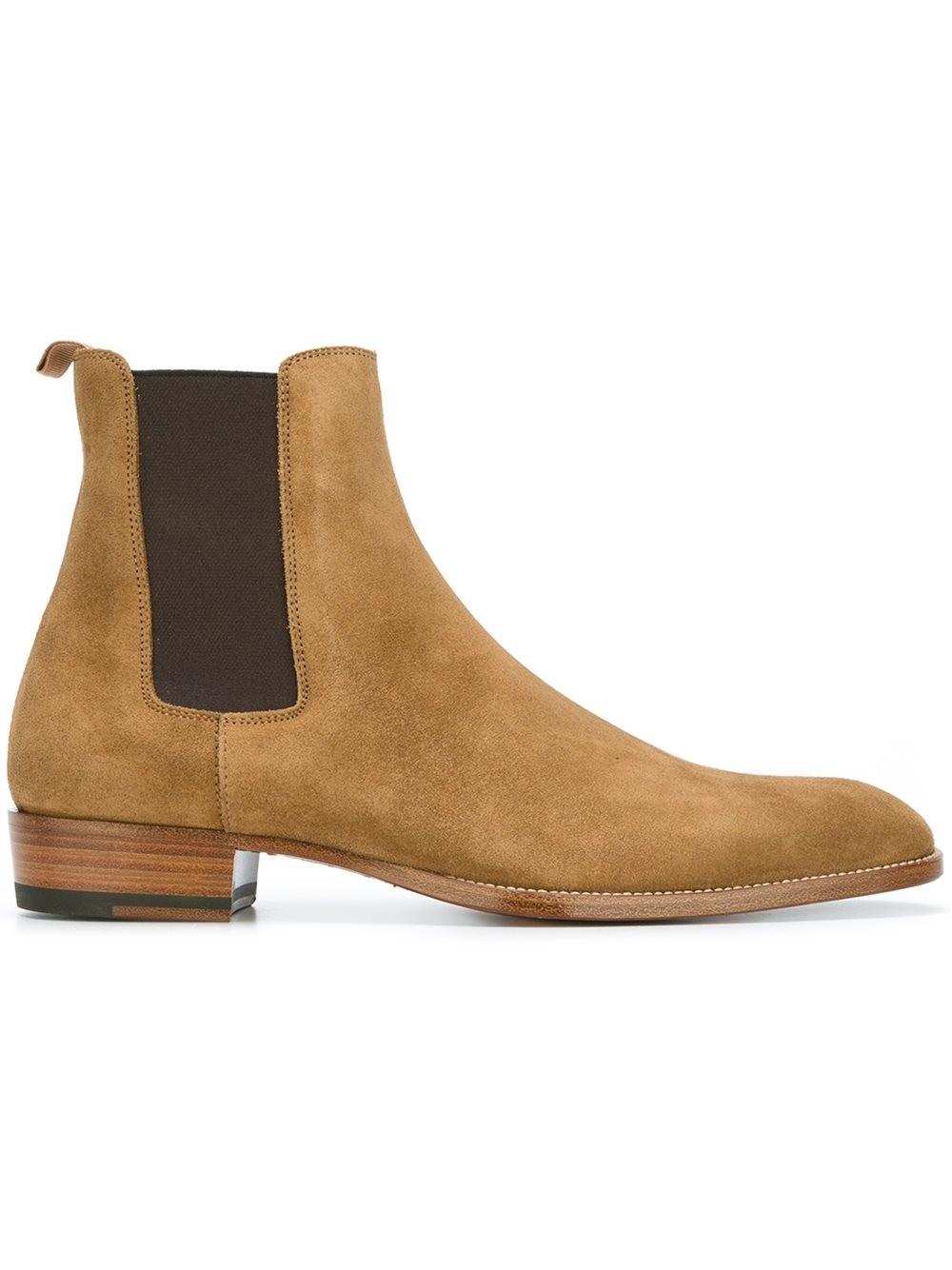 SAINT LAURENT Wyatt Suede Chelsea Ankle Boots, Light Brown