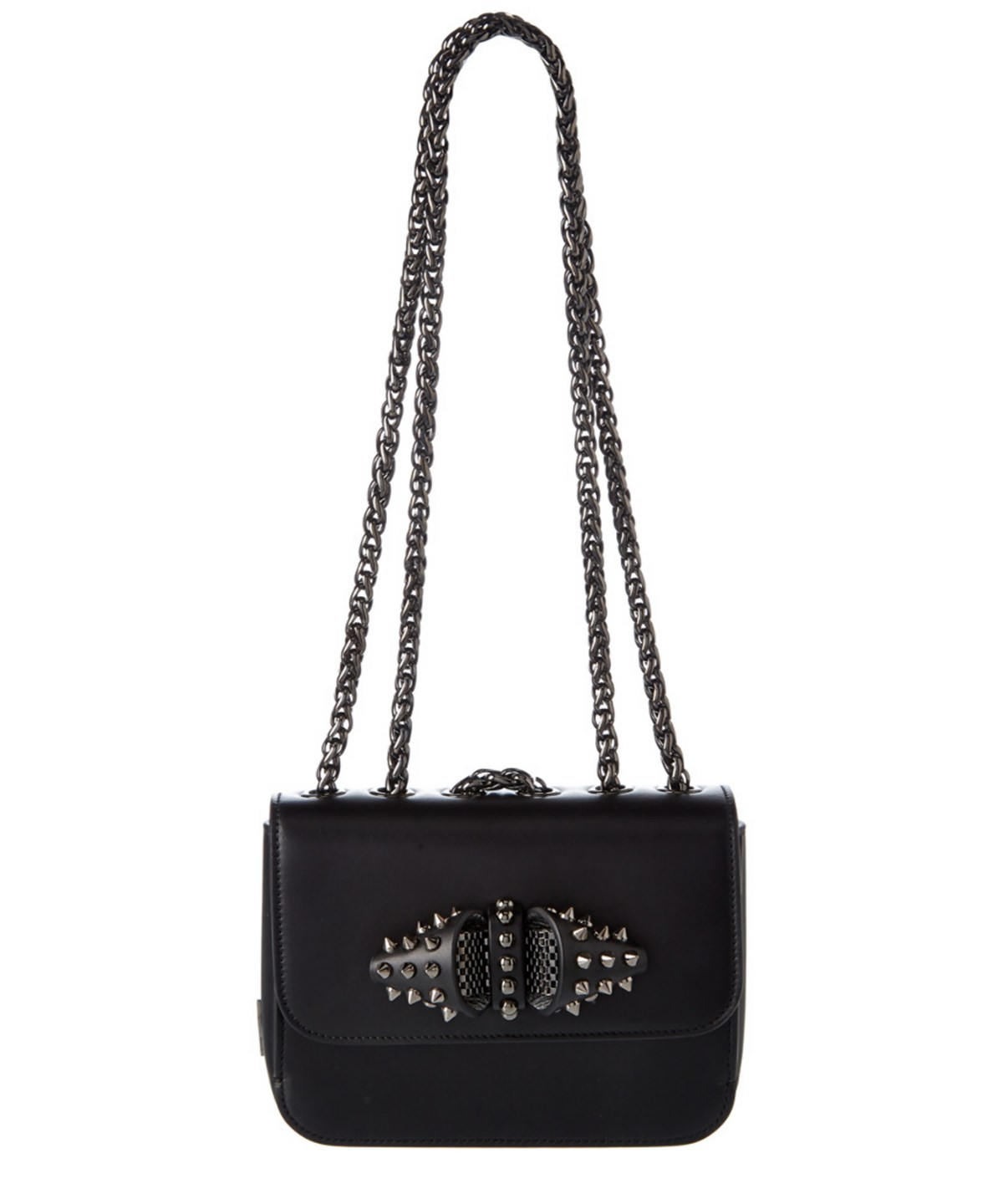 CHRISTIAN LOUBOUTIN Sweet Charity Baby Spiked Leather Chain Crossbody Bag,  Black