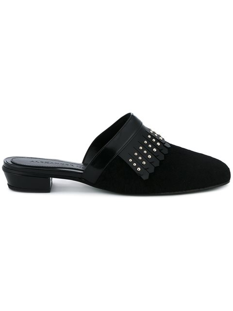 Slippers With Studded Leather Fringing, Black