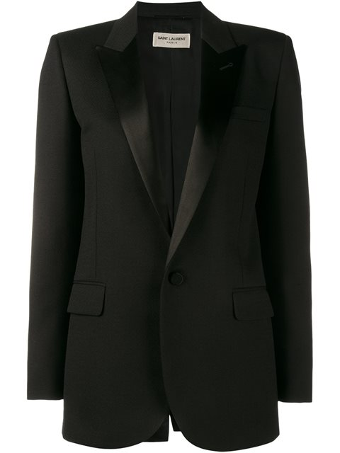 One-Button Tuxedo Jacket in Black