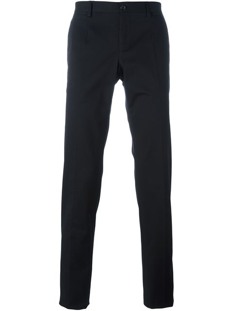 DOLCE & GABBANA Dolce And Gabbana Black Leopard Side Stripe Trousers
