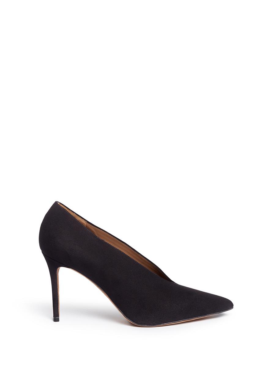 VINCE Portia Suede Pointed-Toe Pump, Black