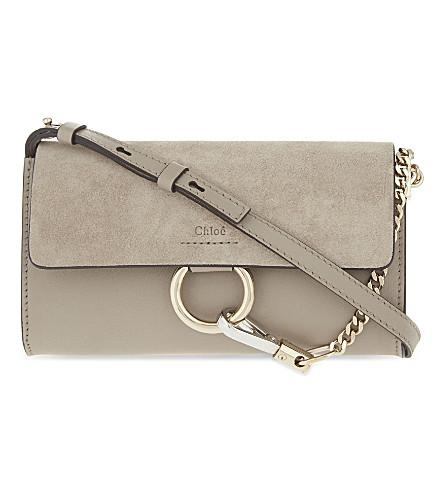 Grey Faye Leather And Suede Cross-Body Bag, Motty Grey