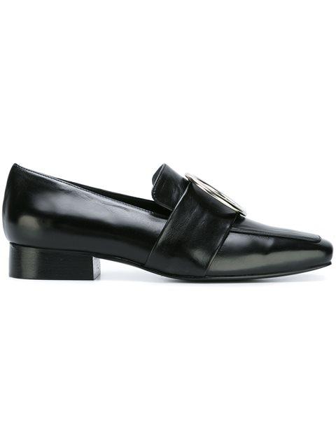'Harput' Round Buckle Leather Loafers, Black