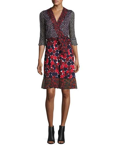 Diane Von Furstenberg Nieves Wrap Dress, Pirouette Dot Navy/Montage Rubiate