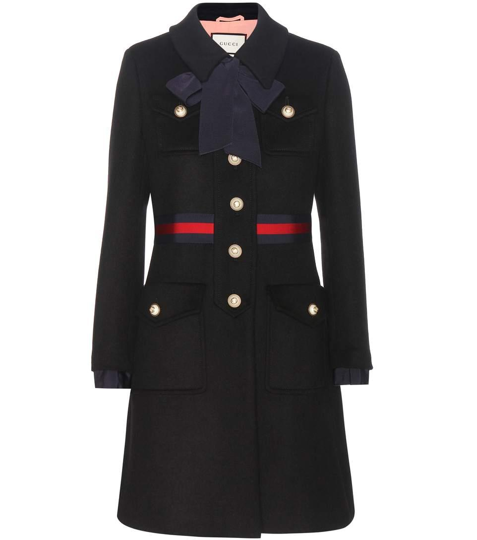 Black Wool Coat With Bow in Llack