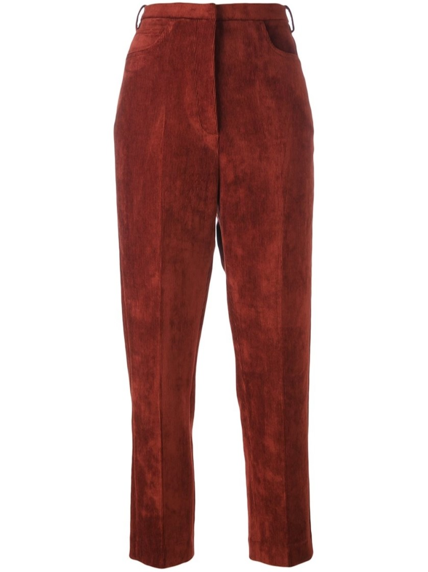 GOLDEN GOOSE Kenzie Cropped Corduroy Trousers in Colour: Burnt-Red