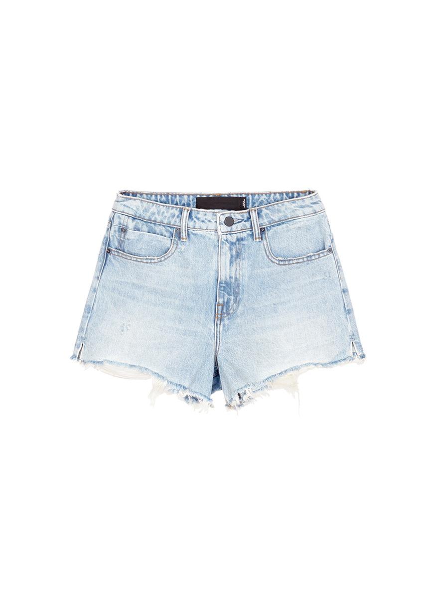 Zip-Embellished Frayed Denim Mini Skirt in Blue