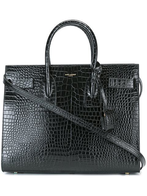 Small Sac De Jour Croc Embossed Calfskin Leather Tote - Black