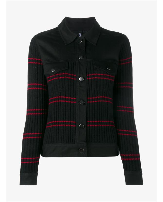 ADAM SELMAN Conspiracy Ribbed Wool & Denim Jacket, Black